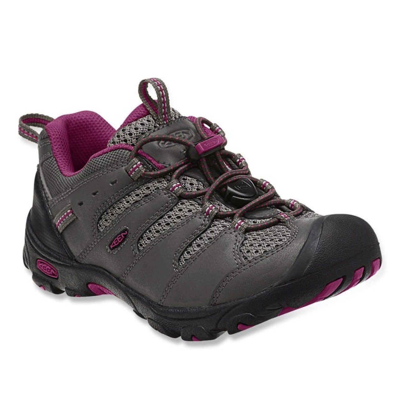Keen Kids, Koven Low WP, CHILDREN, Medium Fit, Waterproof, Leather/Mesh Upper Kids Footwear Keen Magnet/Cerise 8
