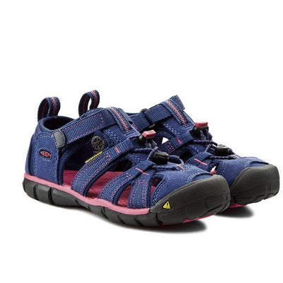 Keen Kids, Seacamp, Washable Polyester Webbing, Toddler, Ensign Blue/Camellia Rose Sandals Keen