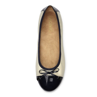 Vionic, Spark Minna, Ballet Flat, Womens, Cream/Navy Shoes Vionic