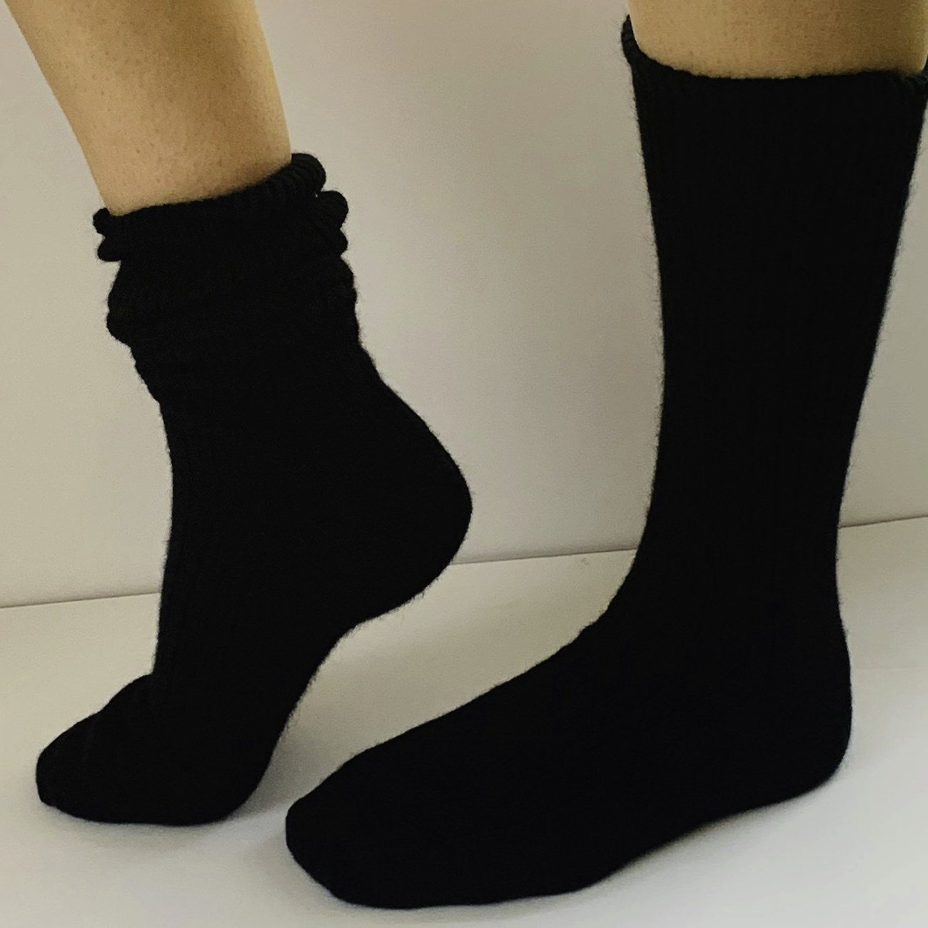 Mongrel Socks, Men's Rib Possum/Merino, Black Socks Mongrel Socks Black Large