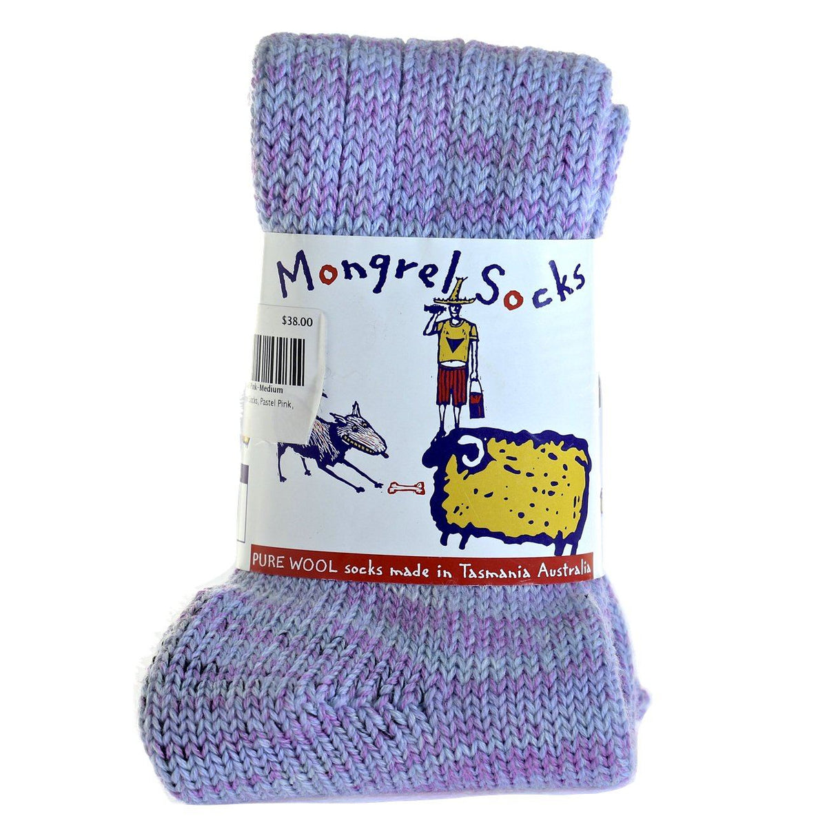 Pure Merino Wool Mongrel Socks, Pastel Pink