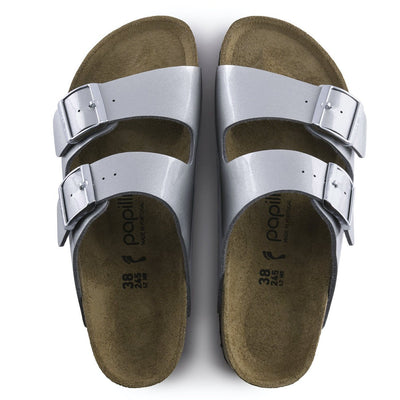 Birkenstock Papillio, Arizona, Platform Sole, Birko-Flor, Narrow Fit, Metallic Silver Sandals Birkenstock
