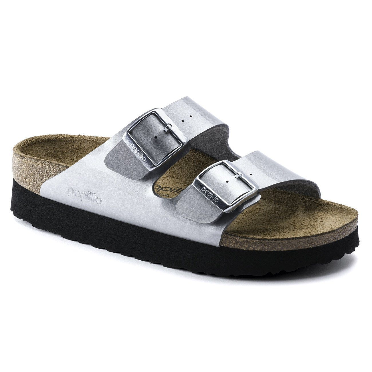 Birkenstock Papillio, Arizona, Platform Sole, Birko-Flor, Narrow Fit, Metallic Silver Sandals Birkenstock Metallic SIlver 40