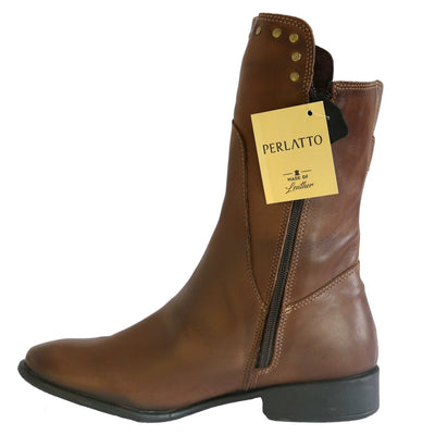 Perlatto, PRW20-06, Boot, Leather, Brown Boots Perlatto
