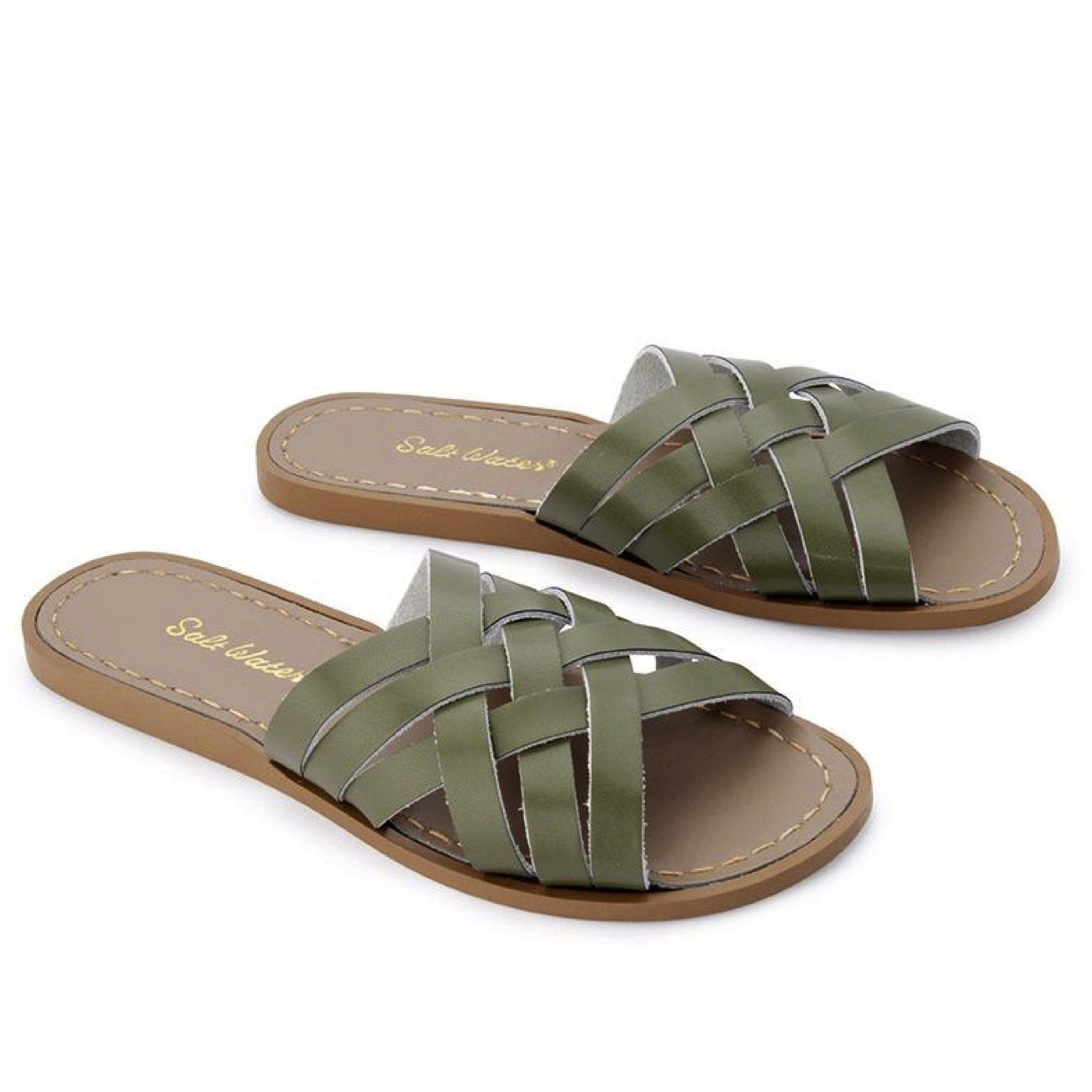 Salt Water Sandals, Retro Slide, Adult, Olive Sandals Salt Water Sandals Olive A6