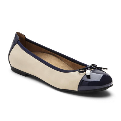 Vionic, Spark Minna, Ballet Flat, Womens, Cream/Navy Shoes Vionic Cream/Navy 10