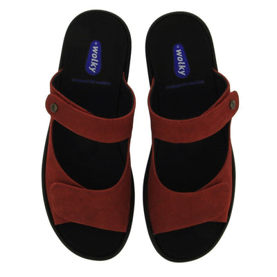 Wolky, Bolena, Slide Sandal, Antique Nubuck, Red Sandals Wolky