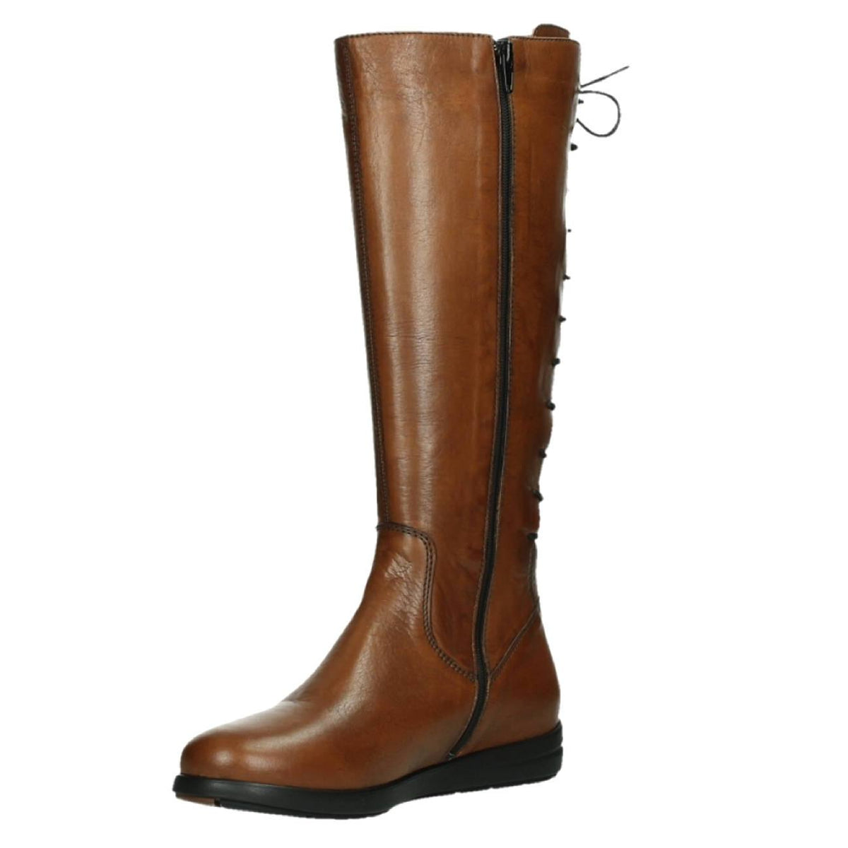 Wolky, Vector, Boots, Velvet Leather, Ladies, Cognac Boots Wolky