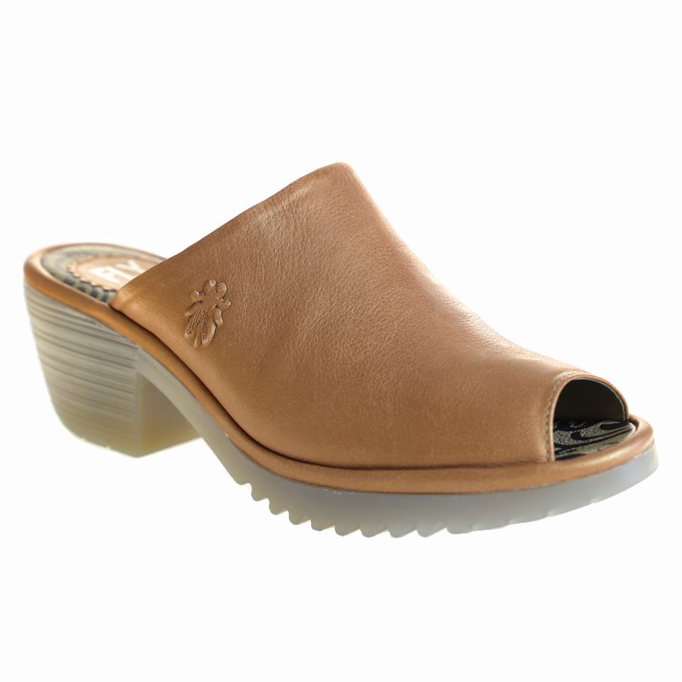 Fly London, Wony, Mule, Leather, Tan Sandals Fly London Tan 37