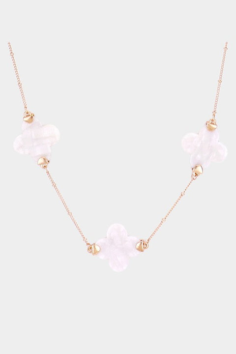 Long Clover Necklace-ivory