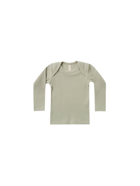 Ribbed long sleeve lap tee - sage