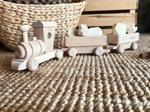 Wooden toy train cargo set