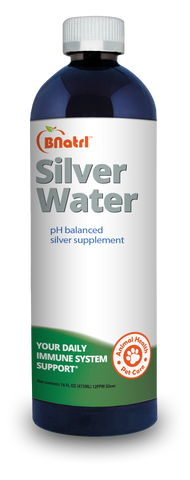 BNatrl 12ppm Mineral Alkaline Colloidal Silver - 16 Oz Bottle (For Pets)