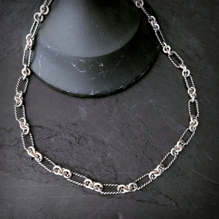 SOLID STERLING SILVER Twisted Oval Link Chain Necklace - ViaLove Designs