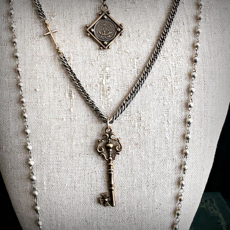 BRONZE Ornate Victorian Skeleton Key Sideways Cross Silver Chain Necklace - ViaLove Designs
