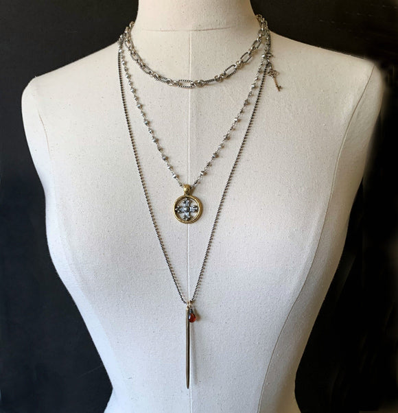 "Bronze Spike Garnet Medieval Sterling Silver Chain Necklace 30"" Long"