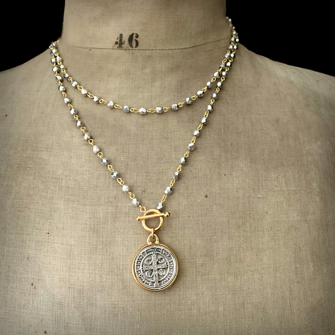 St. Benedict Coin Religious Medal Bead Necklace