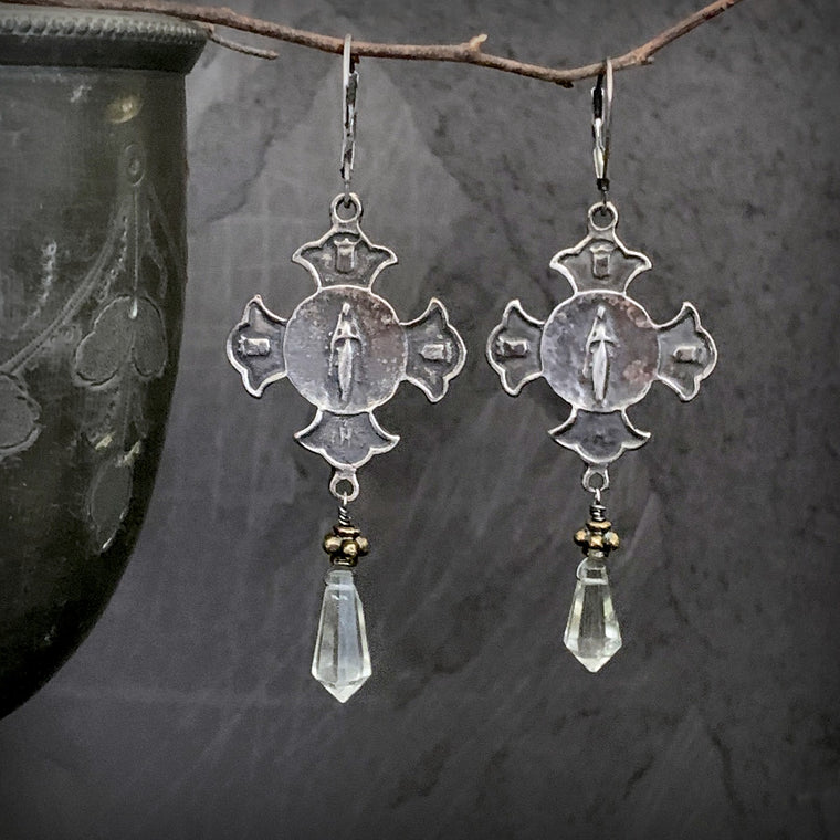 Vintage Inspired Long Green Amethyst Antique Silver Bronze Religious Earrings