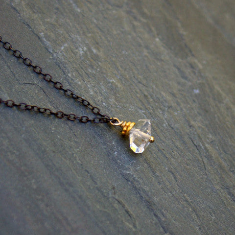 Modern Raw Crystal Herkimer Diamond Necklace Oxidized Sterling Silver Chain - ViaLove Designs