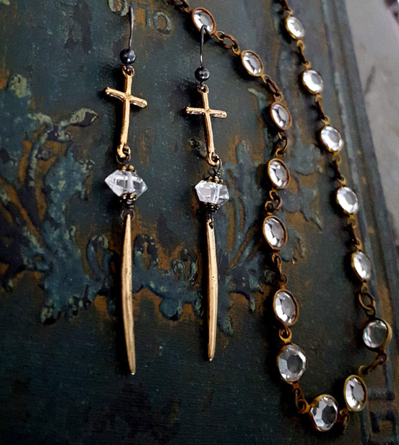 Long Dangle Ancient BRONZE Cross Spike Earrings, Rock & Roll Jewelry - ViaLove Designs