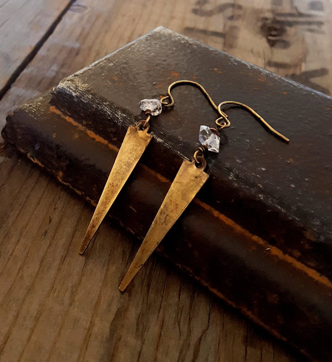 Herkimer Diamond Brass Spike Earrings, Rustic Chic Earrings, Raw Stone Quartz Crystal, Arrowhead Gold Spike, Antique Gold, Rustic Jewelry - ViaLove Designs