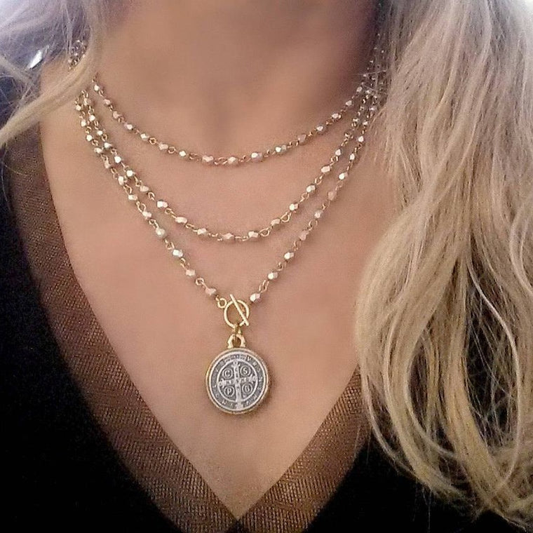 St. Benedict Coin Long SILVER GOLD Wrap Around Necklace - ViaLove Designs