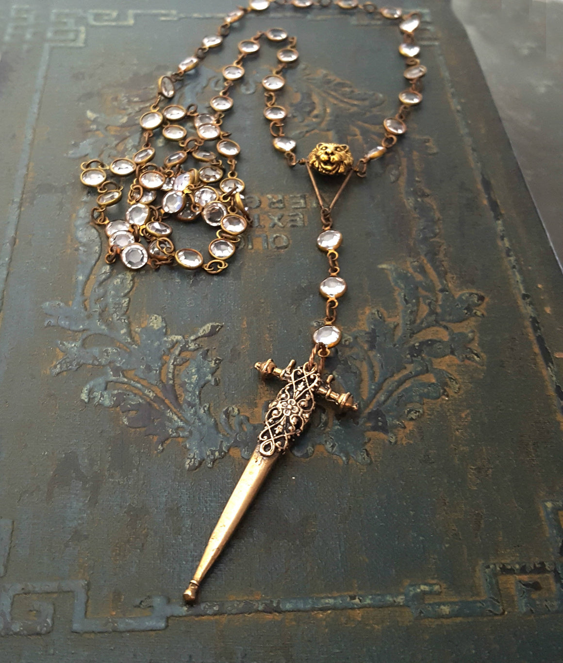 FEARLESS. Long Crystal Chain Lion Sword Cross BRONZE Rosary Necklace - ViaLove Designs