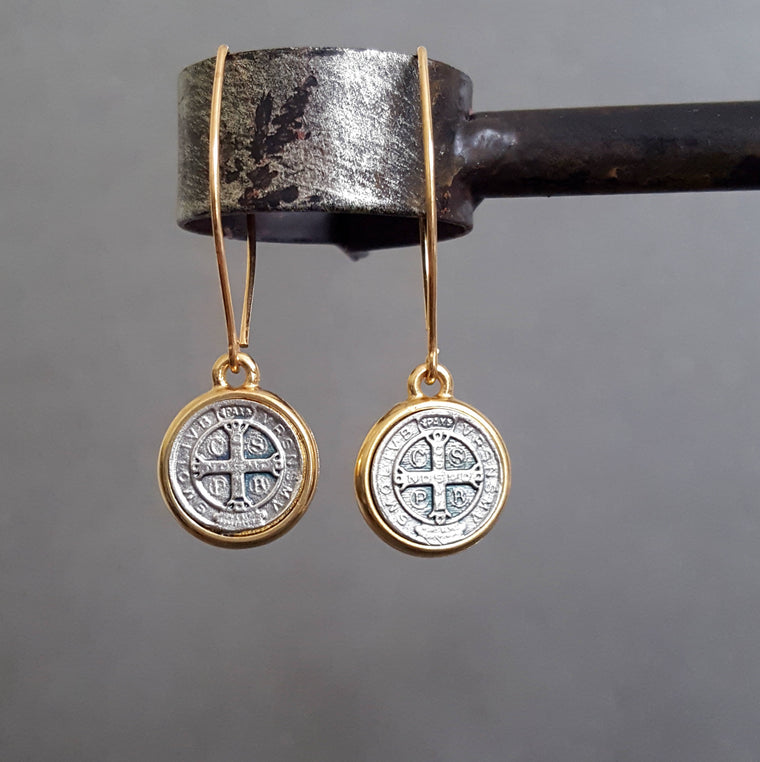 St. Benedict Coin Silver and Gold SOLID BRONZE Earrings - ViaLove Designs