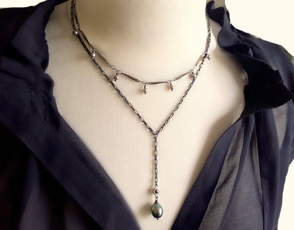 Sterling Silver Ball Black Bar Chain Necklace - ViaLove Designs