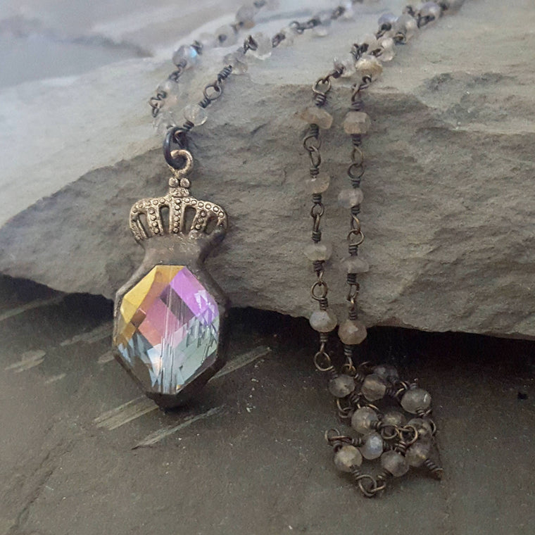 Crystal Crown Soldered Pendant Rustic Labradorite Rosary Style Necklace - ViaLove Designs