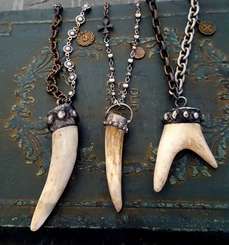Long Pendant Soldered Real Antler Horn Chain Necklace, ONE of a KIND, Discarded Naturally - ViaLove Designs