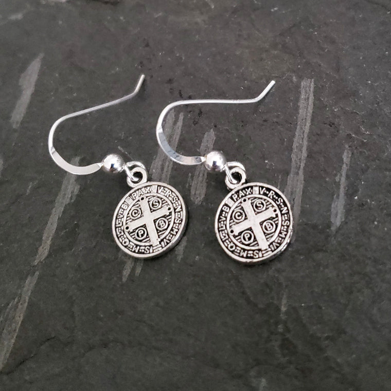 Silver Coin Earrings, St. Benedict Medal Antique Vintage Religious Silver, Coin Jewelry, Gift, STERLING SILVER Earring Hook, Coin Earrings - ViaLove Designs