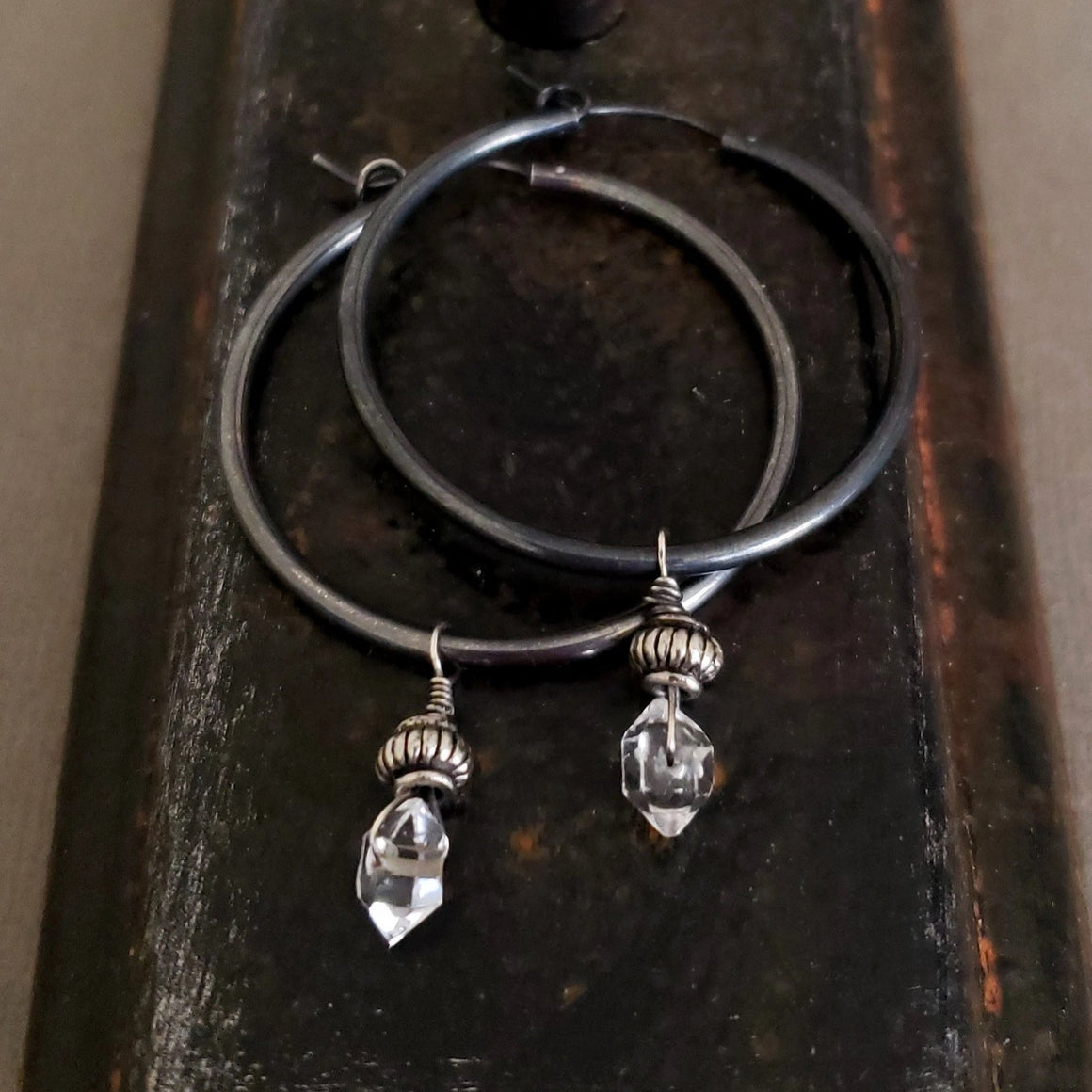 STERLING SILVER Black Hoop Herkimer Diamond Earrings, Black Hoops, Dangle Stone Hoop, Sterling Silver Hoop - ViaLove Designs