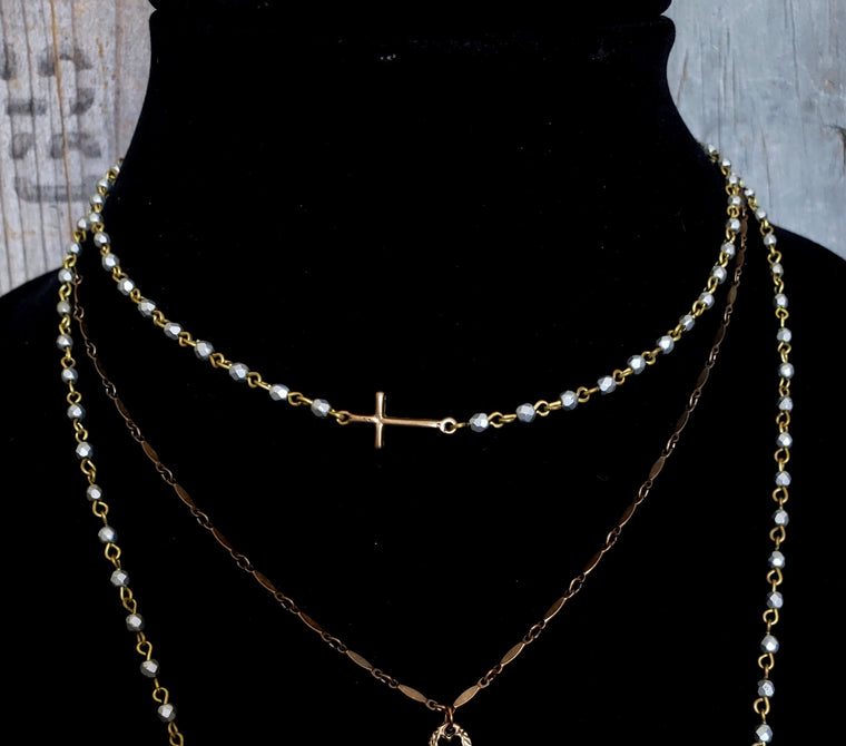 Gold Cross LOVE Necklace, Sideways Cross, Cross Necklace, Pearl Cross Silver Bead, Tiny Bead, Bead Necklace, Pearl Chain Vintage Bridesmaid - ViaLove Designs