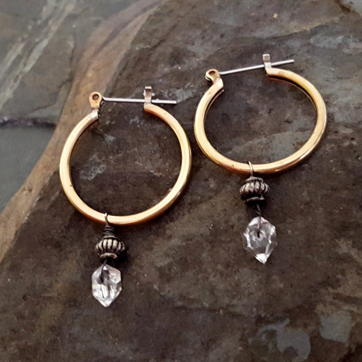 Gold Hoop Herkimer Diamond Earrings, Small Brass Hoops, Dangle Stone Hoop Earrings, Vintage Brass Hoop Gemstone Earrings, Gold Brass Hoops - ViaLove Designs