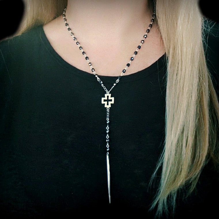 Beaded Rosary Silver Spike Cross Y Necklace - ViaLove Designs