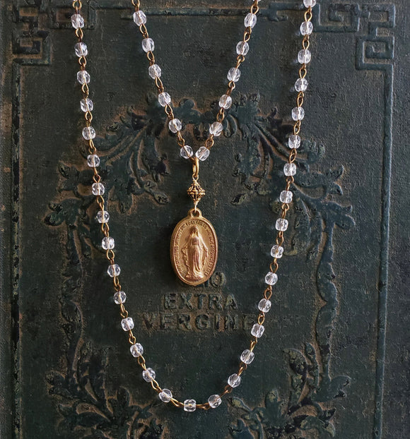 Vintage Religious Medal Gold Mary Pendant Rosary Style Crystal Chain Necklace - ViaLove Designs