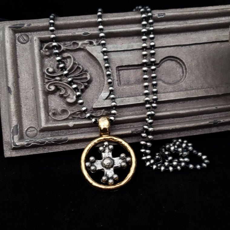 Medieval Silver and Gold Maltese Coptic Cross Necklace - ViaLove Designs