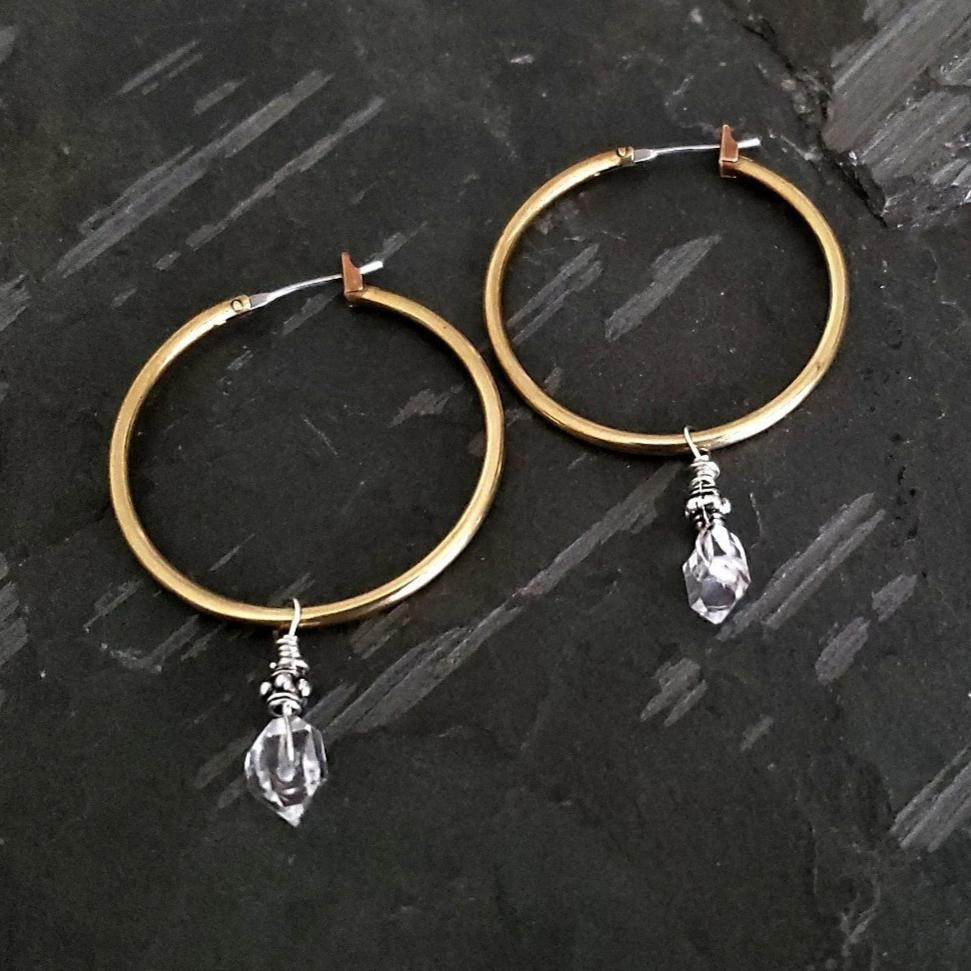 Brass Hoop Earrings with Dangling HERKIMER Raw DIAMOND Stones - ViaLove Designs