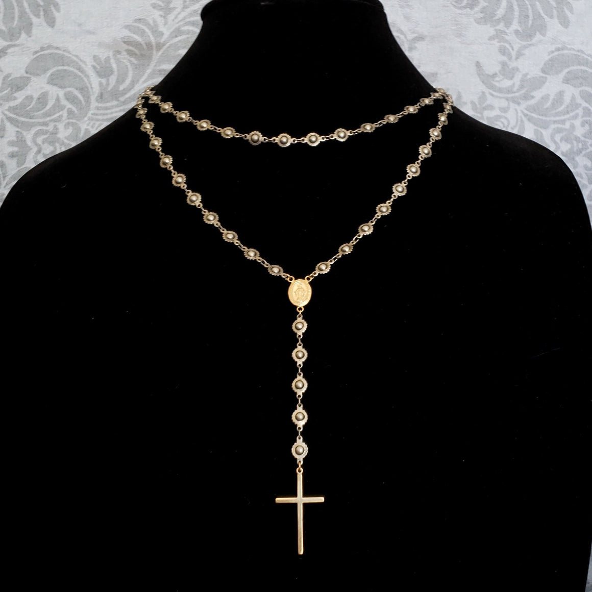 Silver and 14K GOLD Fill Rosary Necklace, Extra Long Silver Chain Gold Cross Rosary, Wrap Around Long Chain, Long Gold Cross Necklace - ViaLove Designs