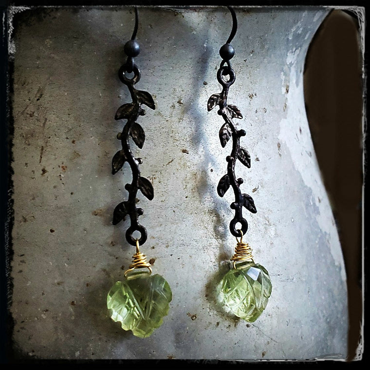 Prehnite Vine Earrings, Light Green Stone Earrings, Carved Stone, Leaf Earrings, Nature, Nature Inspired, Black Oxidized Gold Green Gemstone - ViaLove Designs