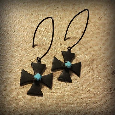 Edgy Goth Rustic Black Metal Maltese Cross Turquoise Earrings - ViaLove Designs