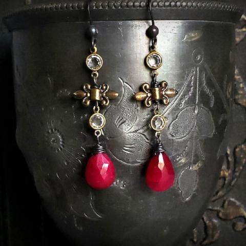 Long RUBY Teardrop Gemstone Crystal Fleur de Lis Romantic Renaissance Earrings - ViaLove Designs