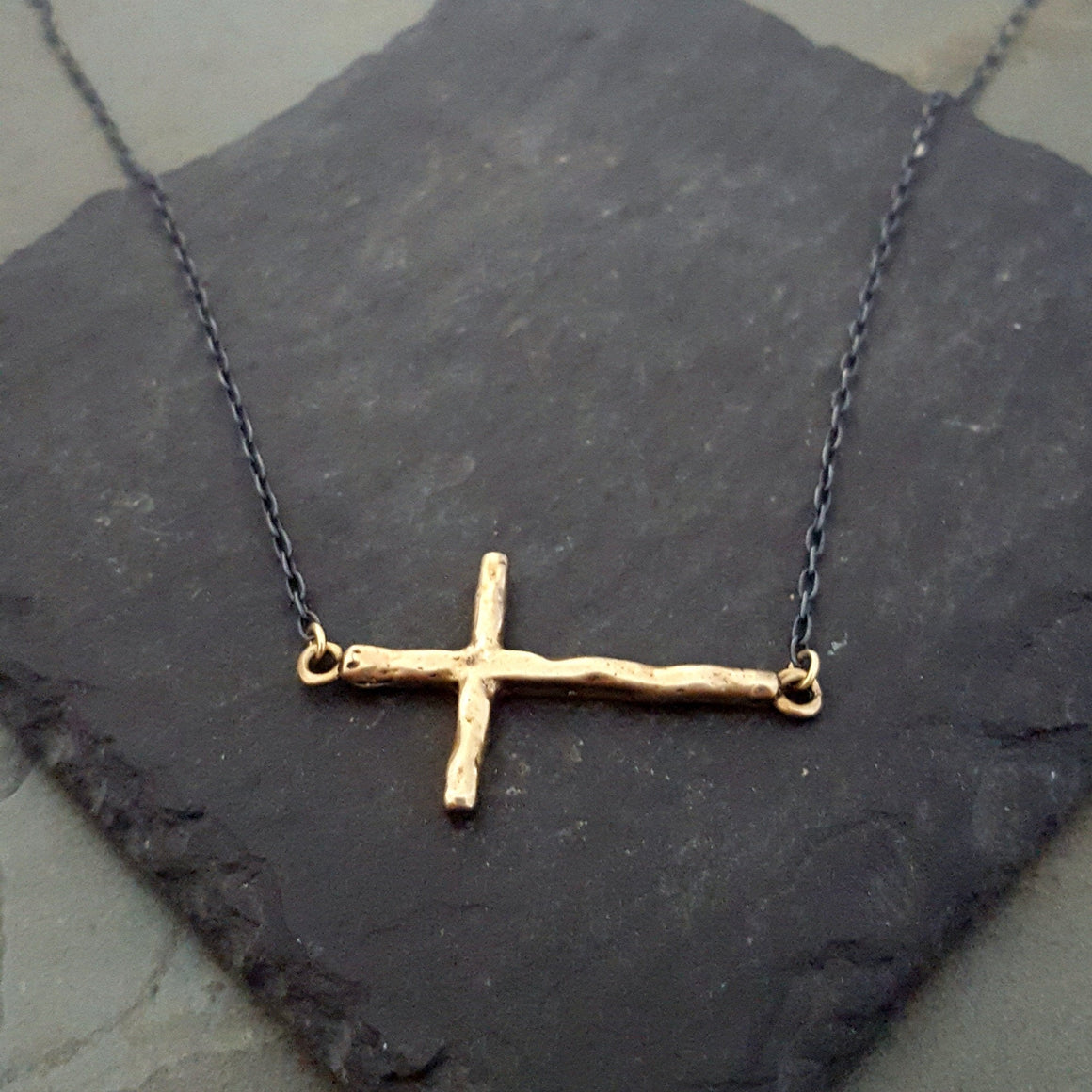 Solid BRONZE Gold Sideways Cross Black Chain Necklace - ViaLove Designs