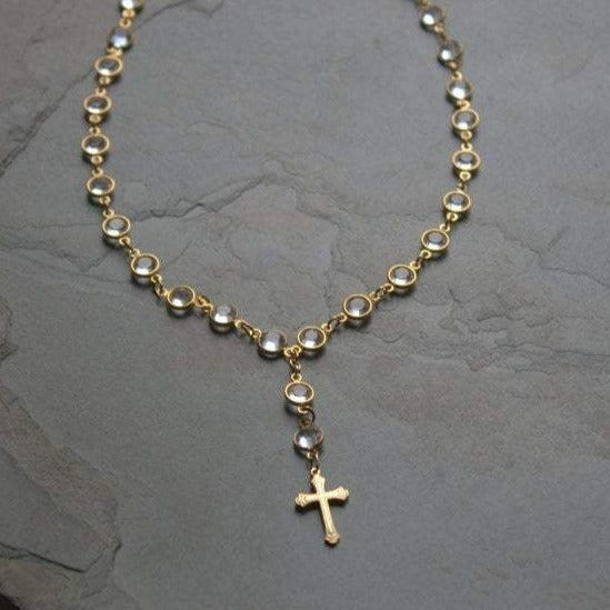 Sparkly Swarovski Crystal Short Gold Filled Cross Rosary Necklace - ViaLove Designs