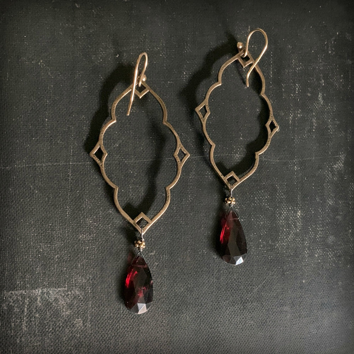 Large Classic Quatrefoil SOLID BRONZE Garnet Statement Earrings - ViaLove Designs