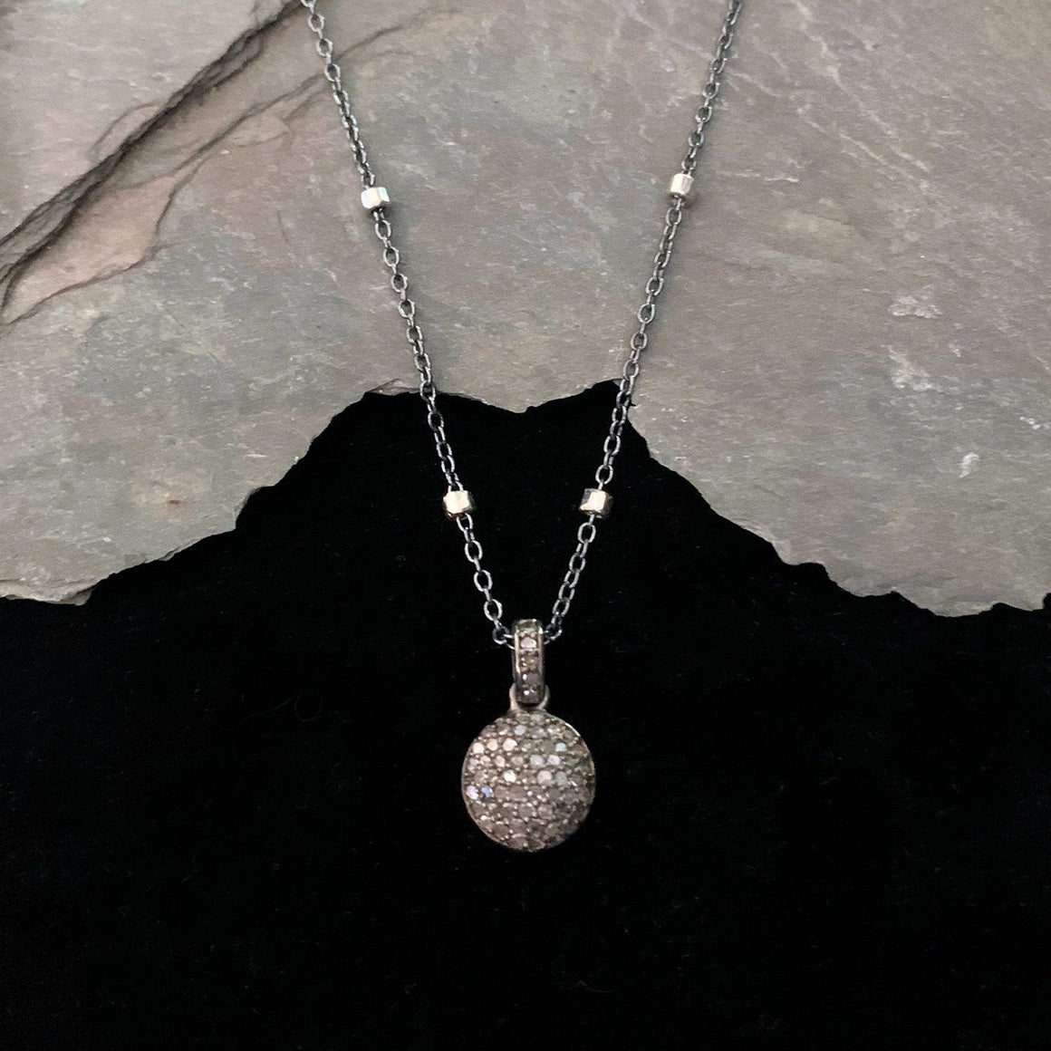 Pavé Diamond Moon Dome Charm Sterling Silver Chain Necklace - ViaLove Designs