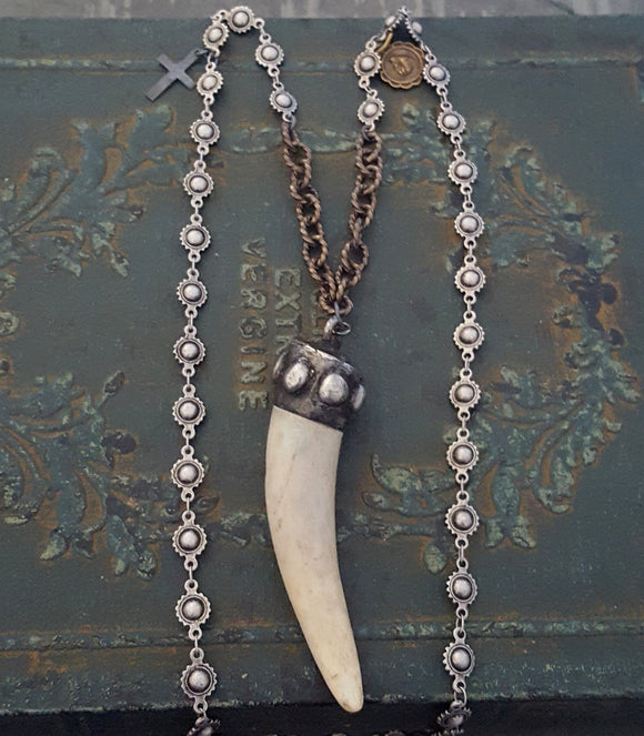 Rustic Real Deer Antler Pendant Long Chain Necklace - ViaLove Designs