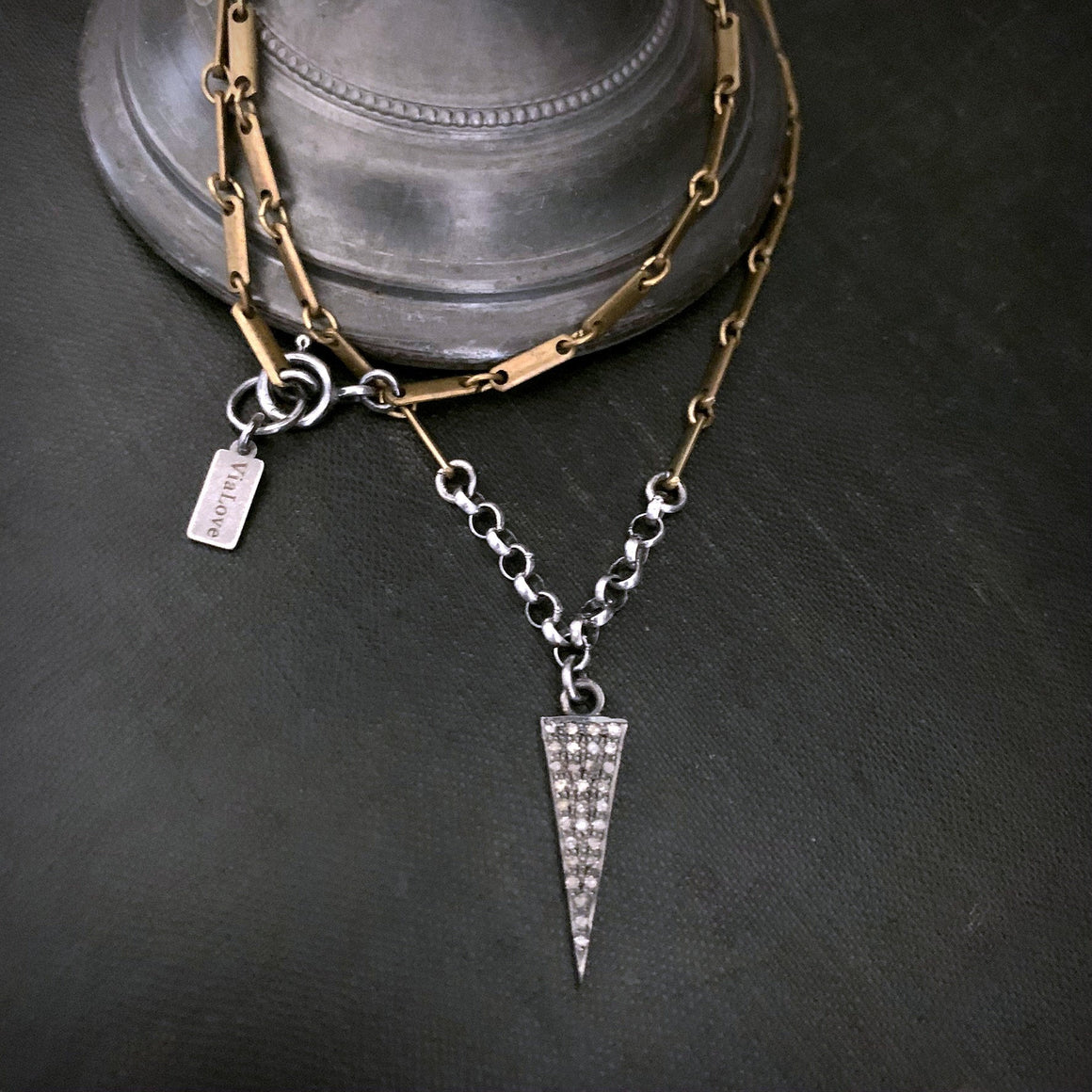 Pave Diamond TRIANGLE Spearhead Brass Chain Necklace - ViaLove Designs