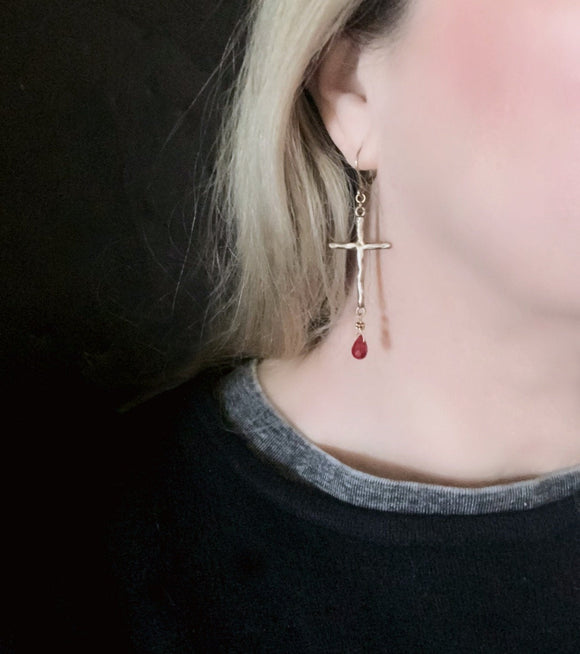 SOLID BRONZE Medieval Long Gold Cross Red Drop Earrings